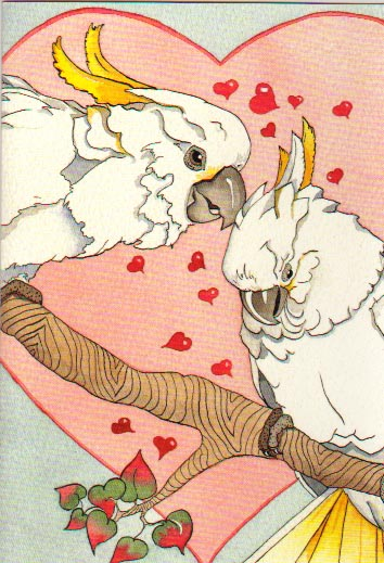 2 cockatoos in love card