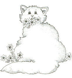 fat cat with daisies inked
