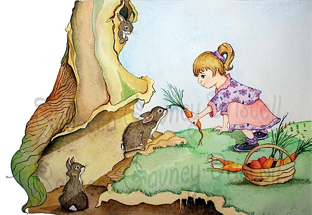 girl feeding rabbit smaller