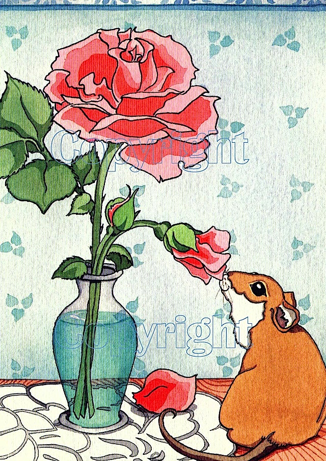 mouse sniffing rose watermark paper